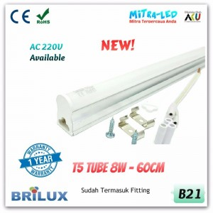 LED Neon Integrated T5 Tube 8W 60cm | BRILUX - 1 Tahun - B21