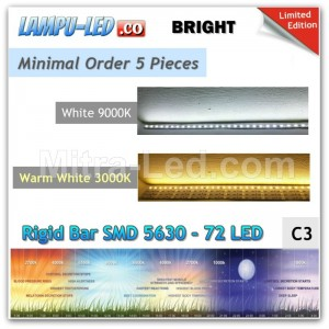 LED Rigid Strip Bar 72leds DC 12V 30W - 1M SMD 5630 - BRIGHT - C3