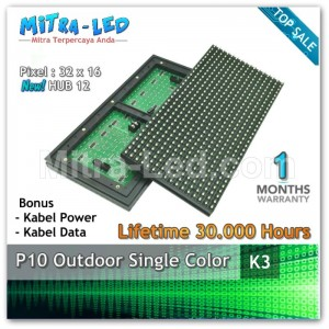 LED Panel Modul P10 Outdoor HIJAU | Green - K03