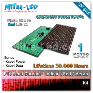 LED Panel Modul P10 Semi Outdoor MERAH | RED - K04
