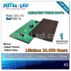 LED Panel Modul P10 Semi Outdoor BIRU | Blue - K05