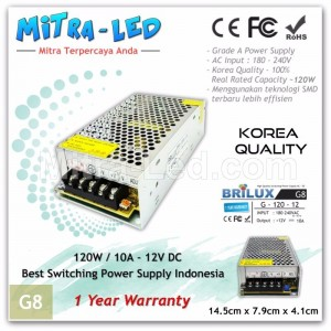 Brilux Switching Power Supply 12V DC 10A 120W | Garansi 1 Tahun - G8