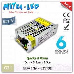 Sanan Switching Power Supply 12V DC 5A 60W | Garansi 6 Bulan - G21