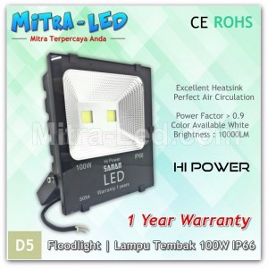 LED Sanan Floodlight Slim 100W AC 220V IP65 Garansi 1 Tahun - D05