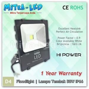 LED Sanan Floodlight Slim 50Watt AC 220V IP65 Garansi 1 Tahun - D04