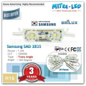 Samsung 2835 Brilux Trans Angle LED Module 2 Mata ( 1 Pack isi 50 Pcs ) - H16