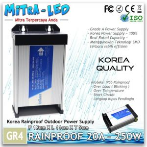 Power Supply 12V LED Rainproof 250W / 20A Garansi 1 Tahun - BRILUX - GR4