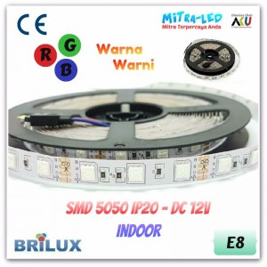 LED Strip SMD 5050 12V IP20 / IP33 Indoor RGB 12 Warna- BRILUX - E08