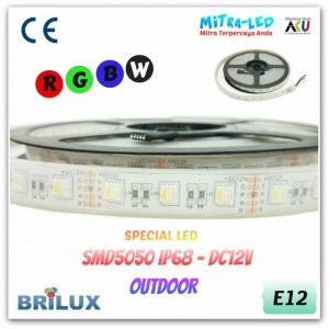 LED Strip SMD 5050 12V IP66 / IP68 Rubber Tube RGB 12 Warna - BRILUX - E10