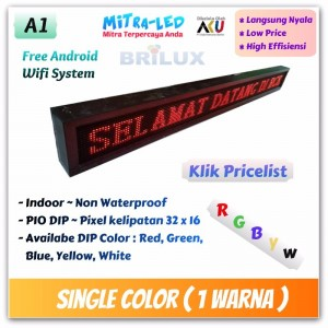 Harga Running Text Moving Sign Single Color / 1 Warna Indoor