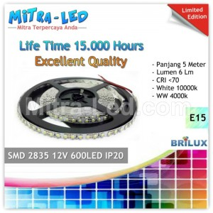 LED Strip SMD 2835 12V IP20 / IP33 Indoor 600 LED Special  - BRILUX - E15