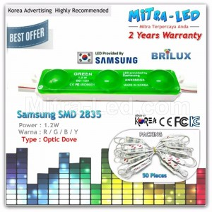 Samsung Color 2835 LED Module 3 Mata ANX( 1 Pack isi 50 Pcs ) - H21
