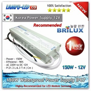 Brilux Waterproof Power Supply 12V DC 12.5A 150W - High Quality