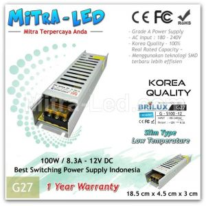 Slim Brilux Switching Power Supply 12V DC 8.3A 100W | Garansi 1 Tahun - G26