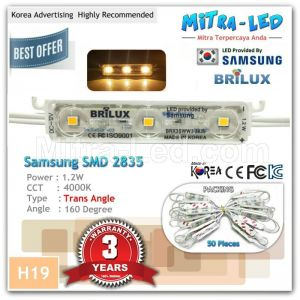 Samsung 2835 Brilux Warm White Trans Angle LED Module 3 Mata ( 1 Pack isi 100 Pcs ) - H19