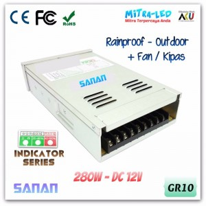 Sanan Rainproof Power Supply 12V DC 23.3A 280W - Indicator Series High Quality